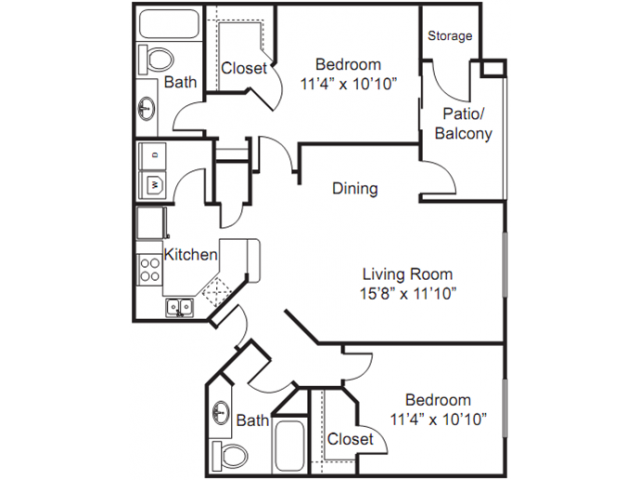 2 Bedroom Floor Plan | Luxury Apartments Tempe | The Palms on Scottsdale