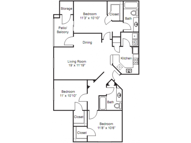 3 Bedroom Floor Plan | Apartments For Rent In Tempe AZ | The Palms on Scottsdale