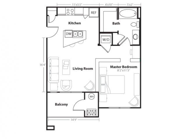 1 Bedroom Floor Plan | Vue 21