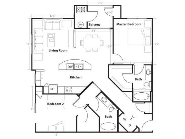 2 Bedroom Floor Plan | Vue 21