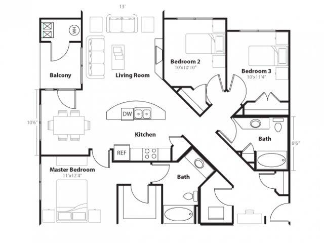 3 Bedroom Floor Plan | Vue 21