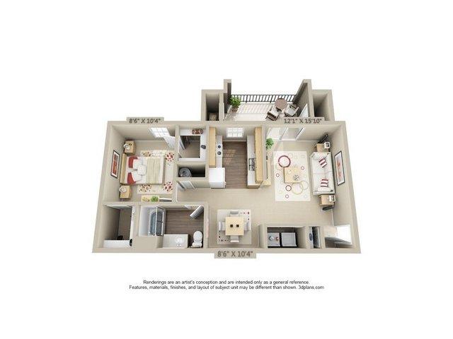 1 Bedroom Floor Plan | Estancia at City Center