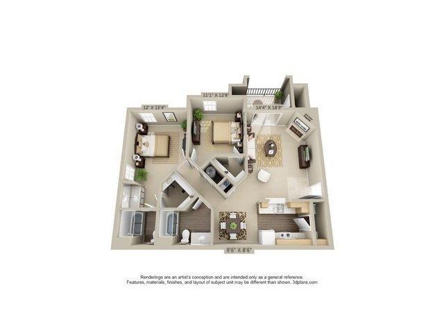 2 Bedroom Floor Plan   Estancia at City Center 2