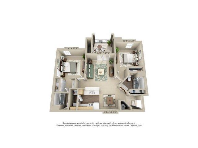 2 Bedroom Floor Plan   Estancia at City Center