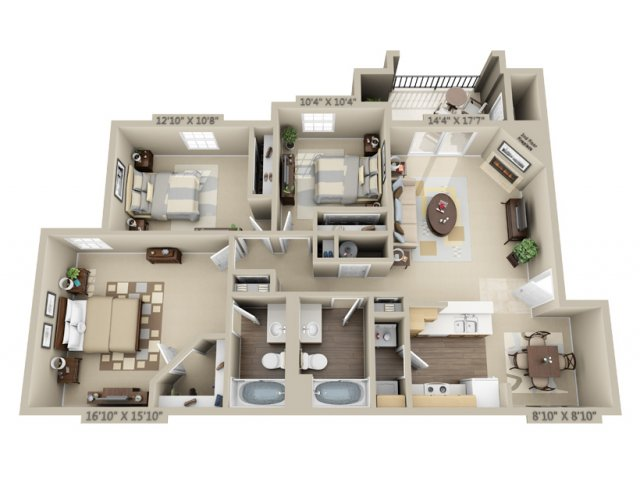 3 Bedroom Floor Plan   Estancia at City Center
