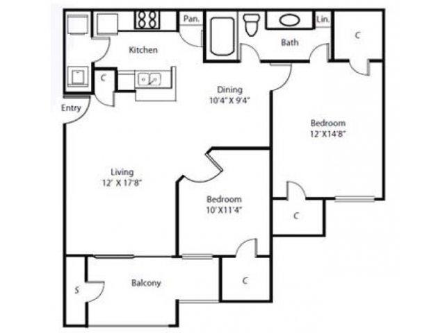 Floor Plan 2   Rockbrook Creek Apartments