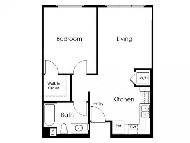 1 Bedroom Floor Plan | Pomona Apartment | Monterey Station Apartments