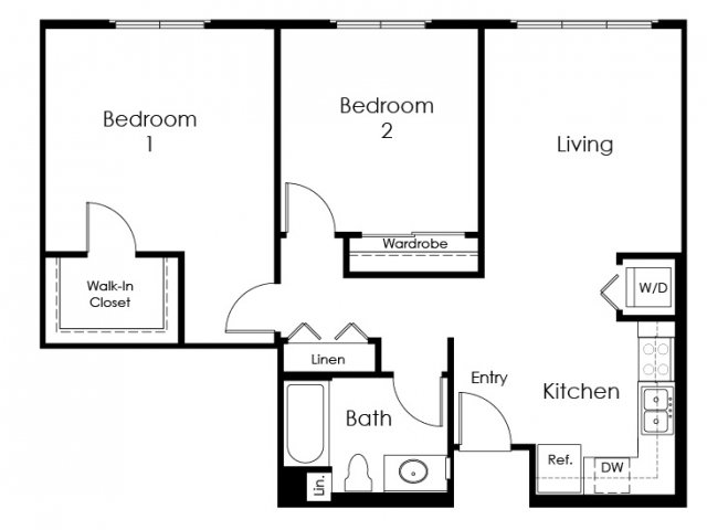 2 Bedroom Floor Plan | Apartment For Rent In Pomona CA | Monterey Station Apartments