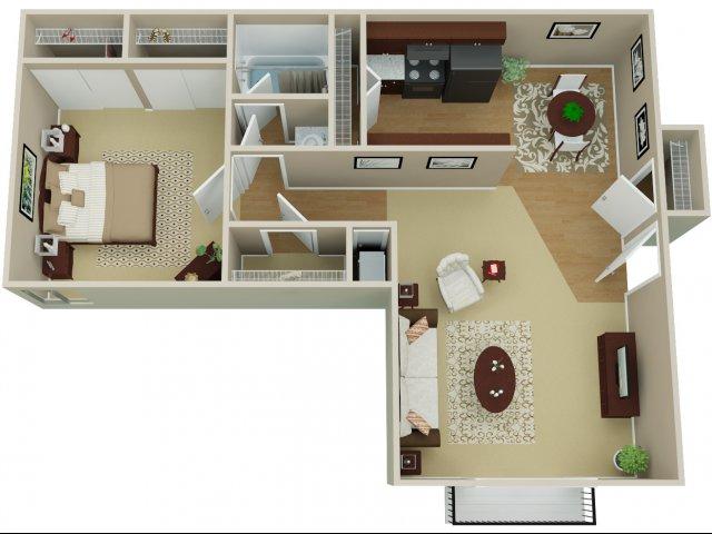 1 Bedroom Floor Plan | Arvada Village 2