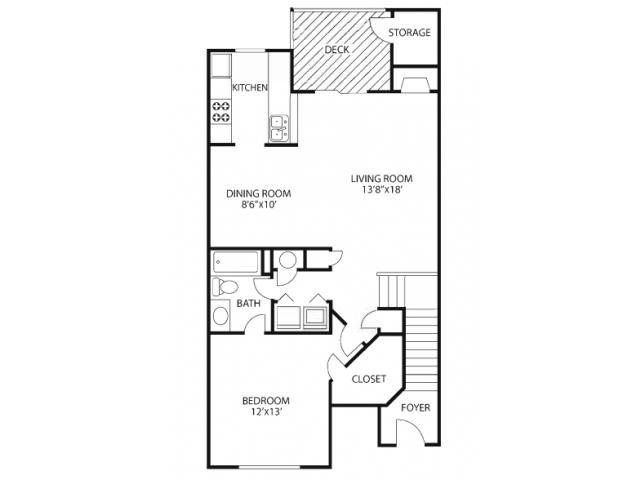 One Bedroom Floorplan | The Lakes at Windward 1