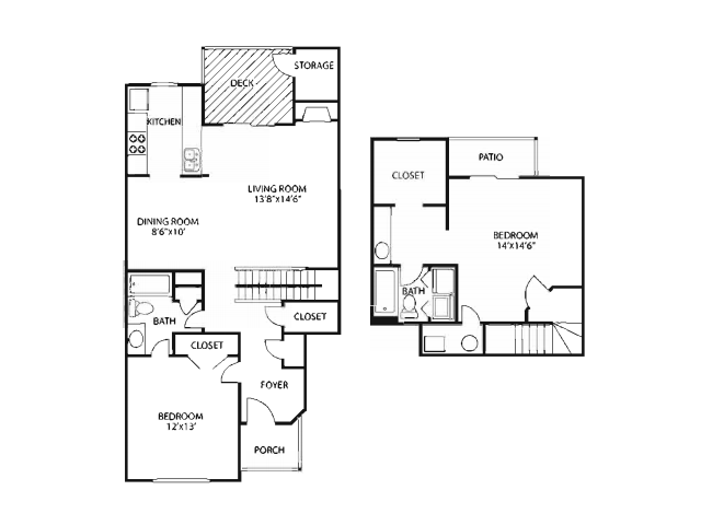 Two Bedroom Floorplan | The Lakes at Windward 3