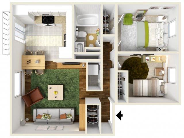 Two Bedroom Floorplan | Pacific Crest 6