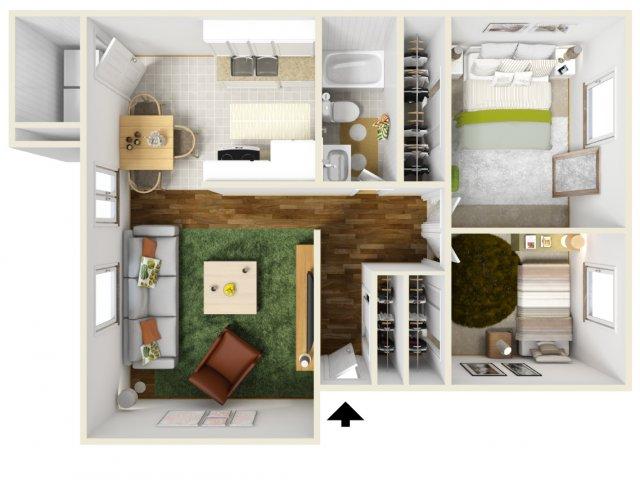 Two Bedroom Floorplan | Pacific Crest