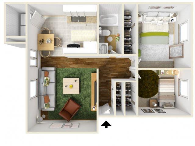 Two Bedroom Floorplan | Pacific Crest 8