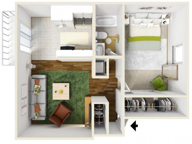 One Bedroom Floorplan | Pacific Crest