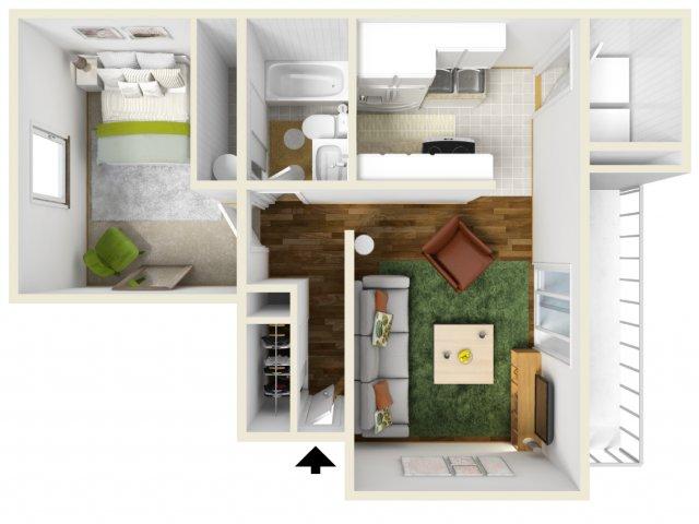 One Bedroom Floorplan | Pacific Crest 2