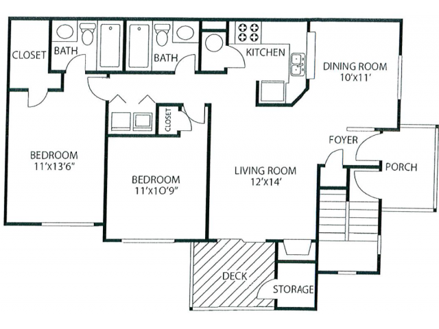 Two Bedroom Floorplan | The Lakes at Windward