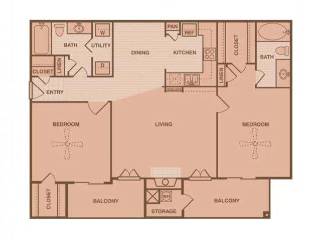 2 Bedroom Floor Plan | Retreat at Westchase
