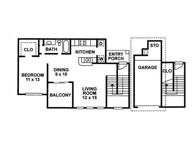 1 Bedroom Floor Plan | Chartwell Court Apartments