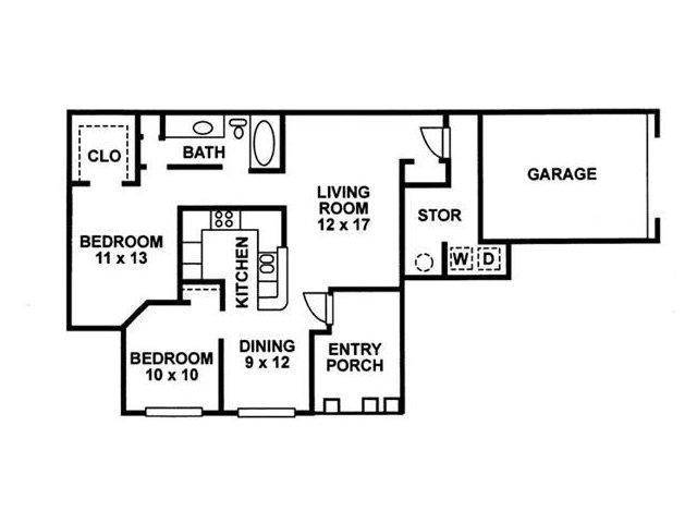 2 Bedroom Floor Plan | Chartwell Court Apartments