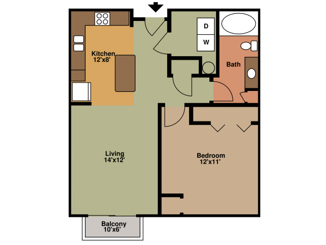 1 Bedroom Floor Plan | Eagles Landing