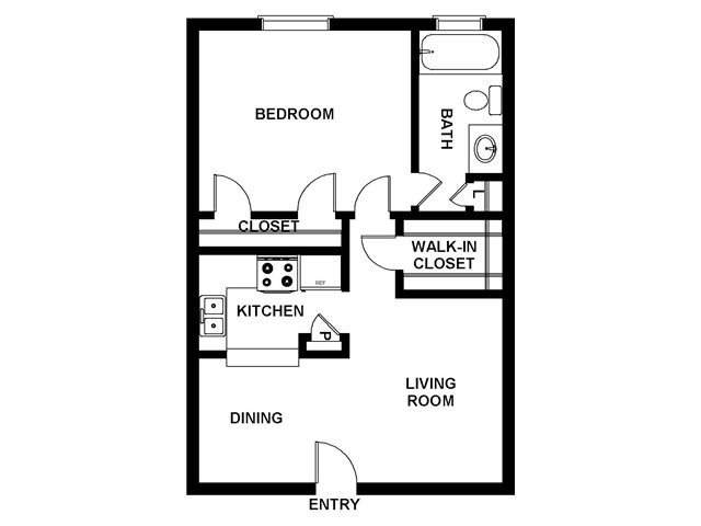 1 Bedroom Floor Plan | Villages at Meyerland