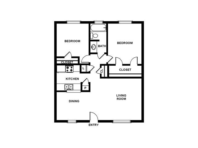2 Bedroom Floor Plan | Villages at Meyerland