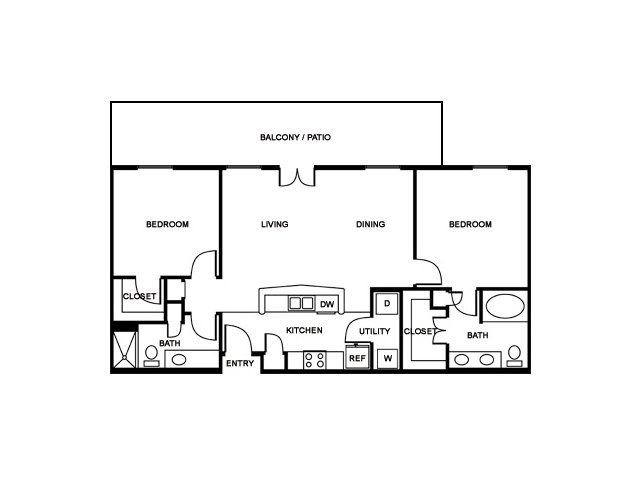 2 Bedroom Floor Plan | The Saulet 2