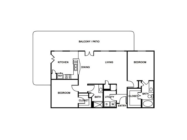 2 Bedroom Floor Plan | The Saulet 4