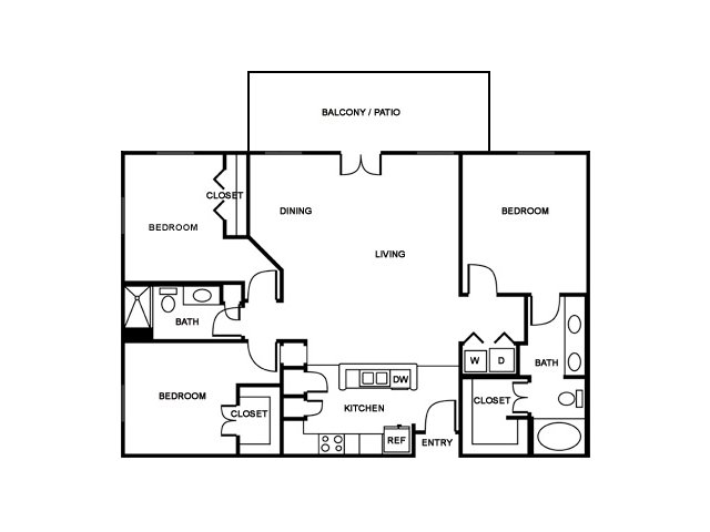 3 Bedroom Floor Plan | The Saulet