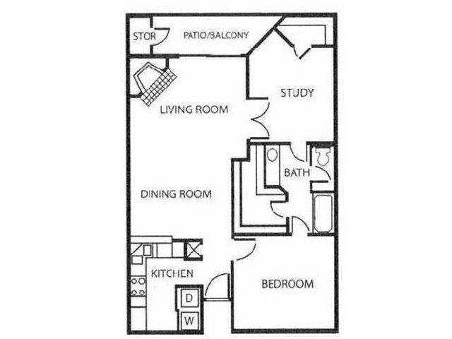 Studio Floor Plan | Reserve at Windmill Lakes