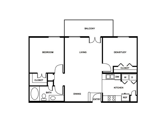 1 Bedroom Floor Plan | The Saulet 2