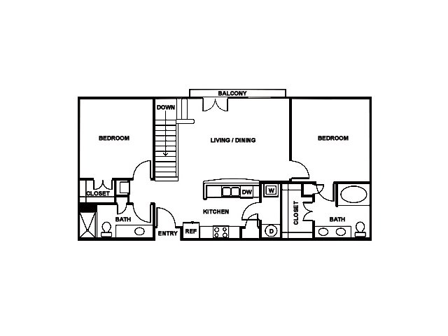 2 Bedroom Floor Plan | The Saulet 3