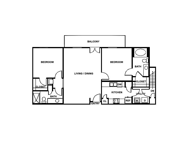 2 Bedroom Floor Plan | The Saulet 5