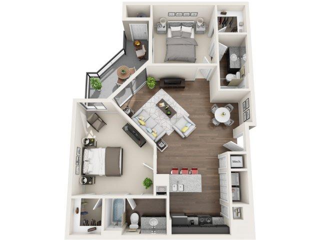 2 Bedroom Floor Plan | Park 28