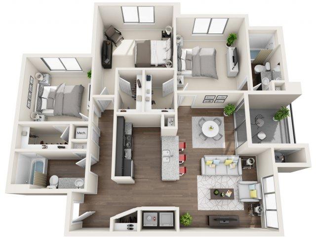 3 Bedroom Floor Plan | Park 28