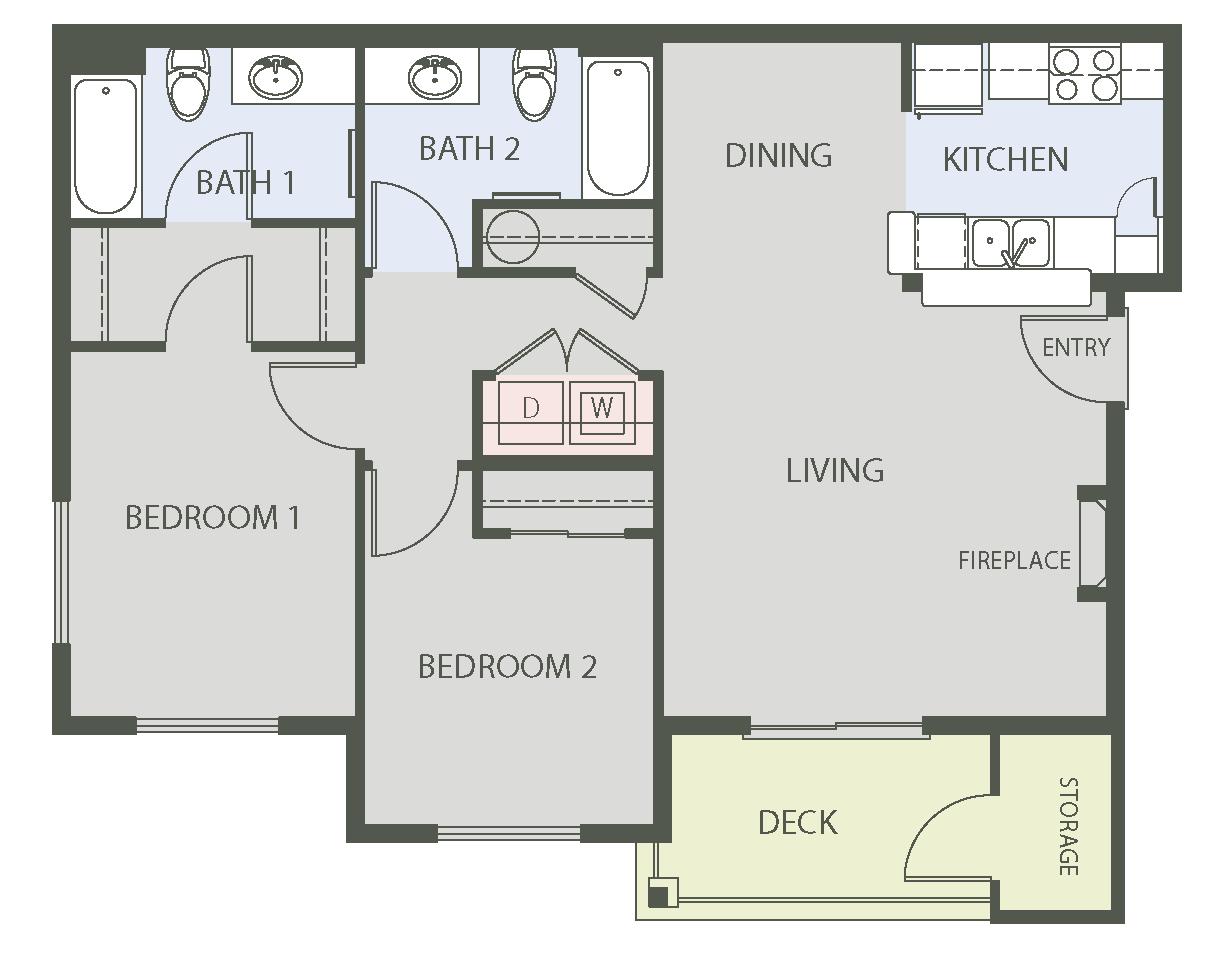 2 Bedroom Floor Plan   Arbors at Edgewood