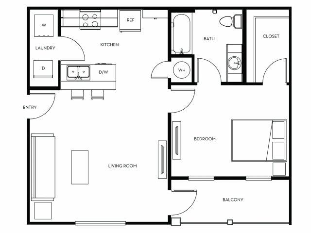 1 Bedroom Floor Plan | Heights at Converse
