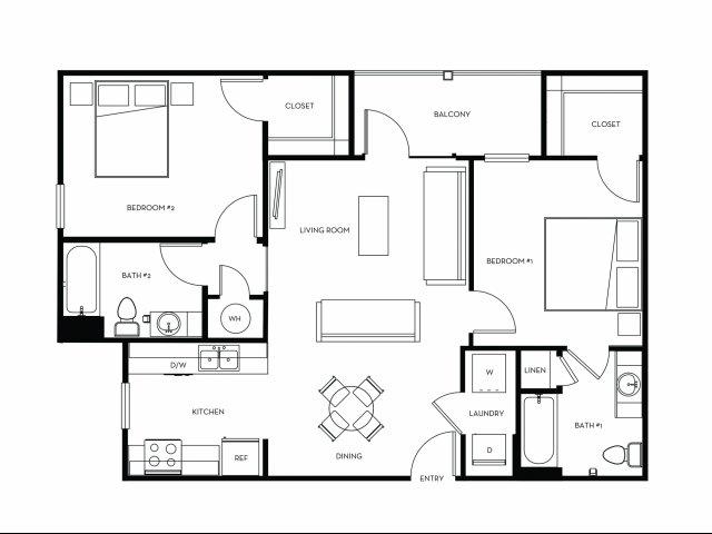 2 Bedroom Floor Plan | Heights at Converse