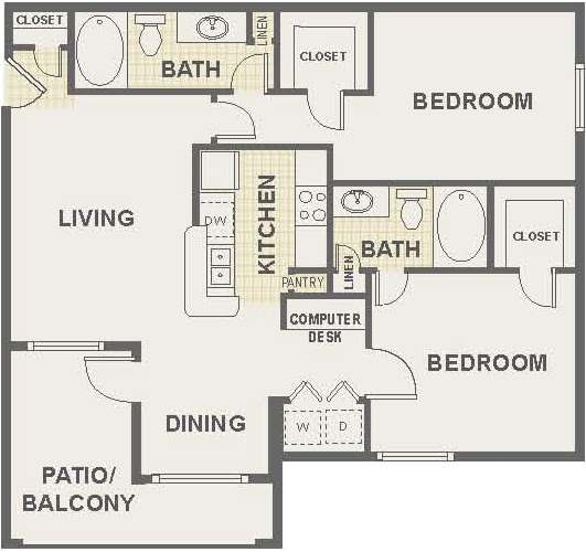 2 Bedroom Floor Plan | The Lodge at River Park Apartments