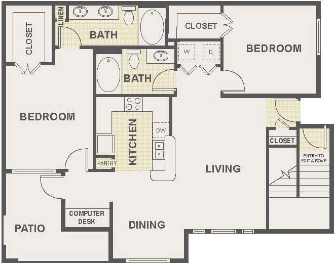 Floor Plan 2 | The Lodge at River Park Apartments