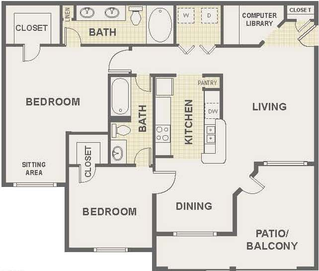 Floor Plan 3 | The Lodge at River Park Apartments