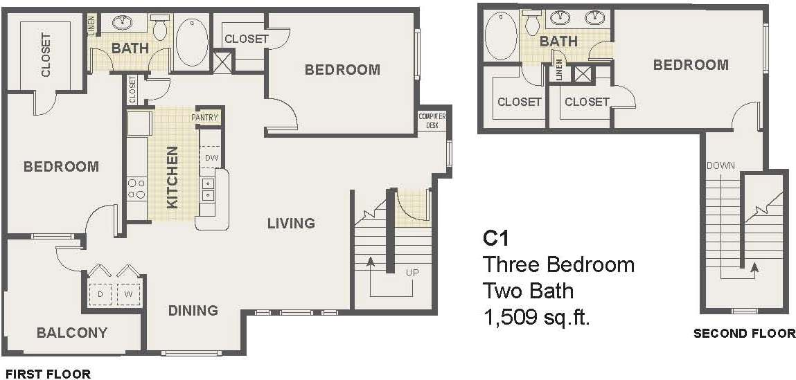 3 Bedroom Floor Plan | The Lodge at River Park Apartments