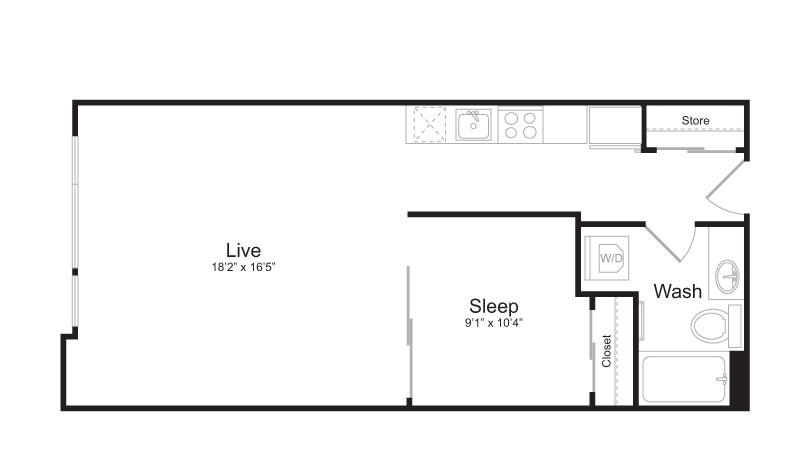 1 Bedroom Floor Plan | Mark on 8th 2