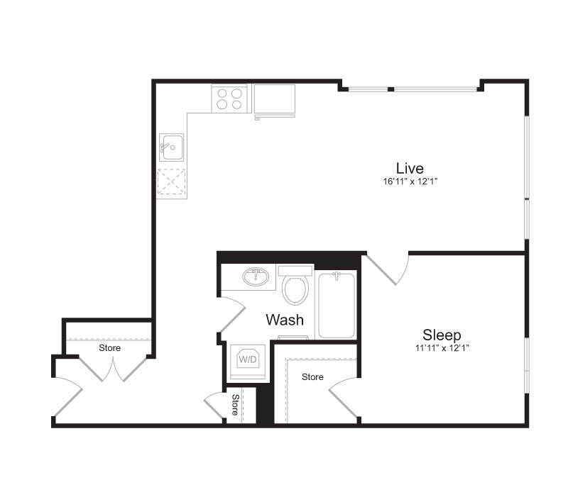 1 Bedroom Floor Plan | Mark on 8th 8