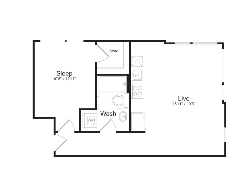 1 Bedroom Floor Plan | Mark on 8th 12