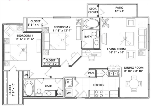 2 Bedroom Floor Plan | Vail Quarters