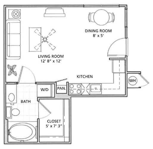 Studio Floor Plan | Vail Quarters
