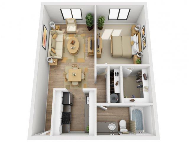 1 Bedroom Floor Plan   Village 185