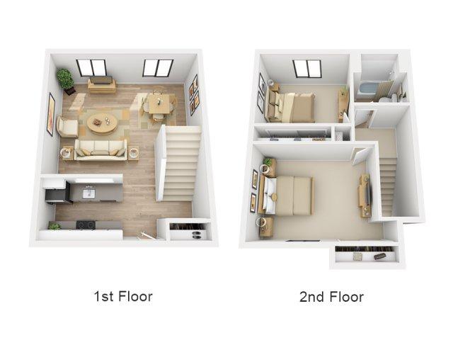 2 Bedroom Floor Plan   Village 185